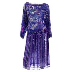 Judith Ann Creations Purple & Blue Beaded Sequin 2pc Dress with Bird Design