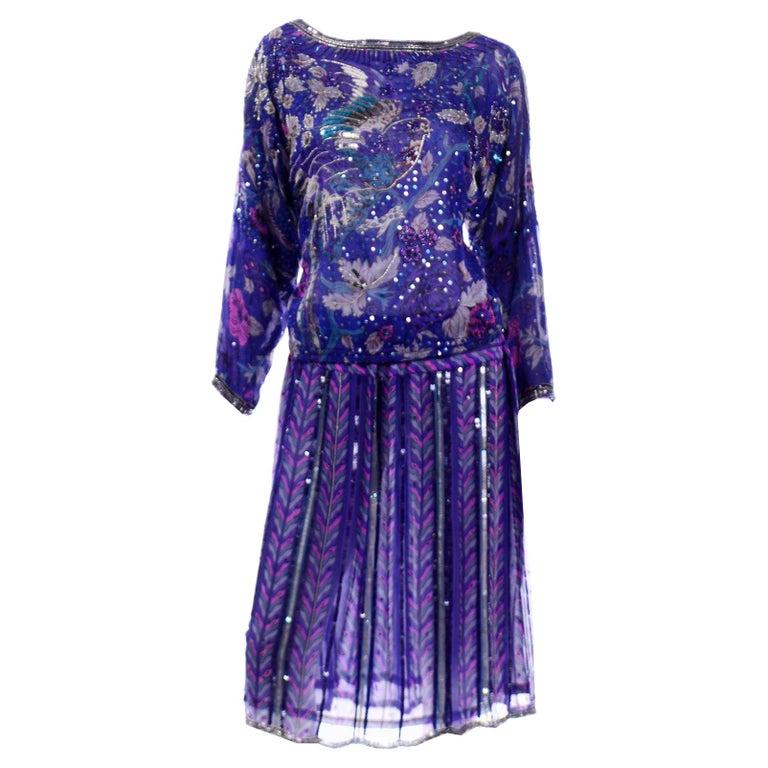 Judith Ann Creations Purple & Blue Beaded Sequin 2pc Dress with Bird Design For Sale