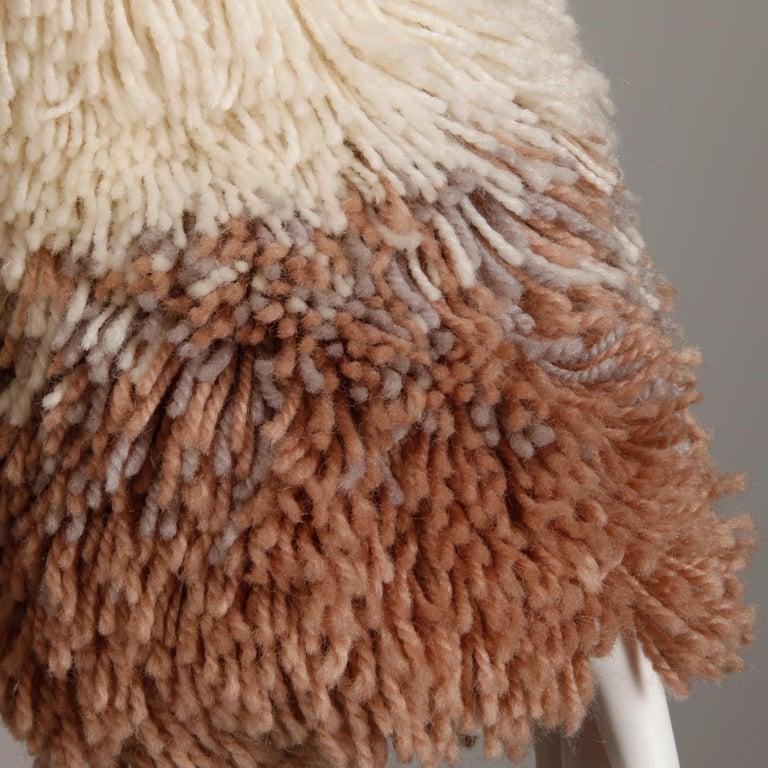 Brown Judith Ann Vintage Heavy + Warm Wool Shaggy Faux Fur Jacket or Coat 1980s For Sale