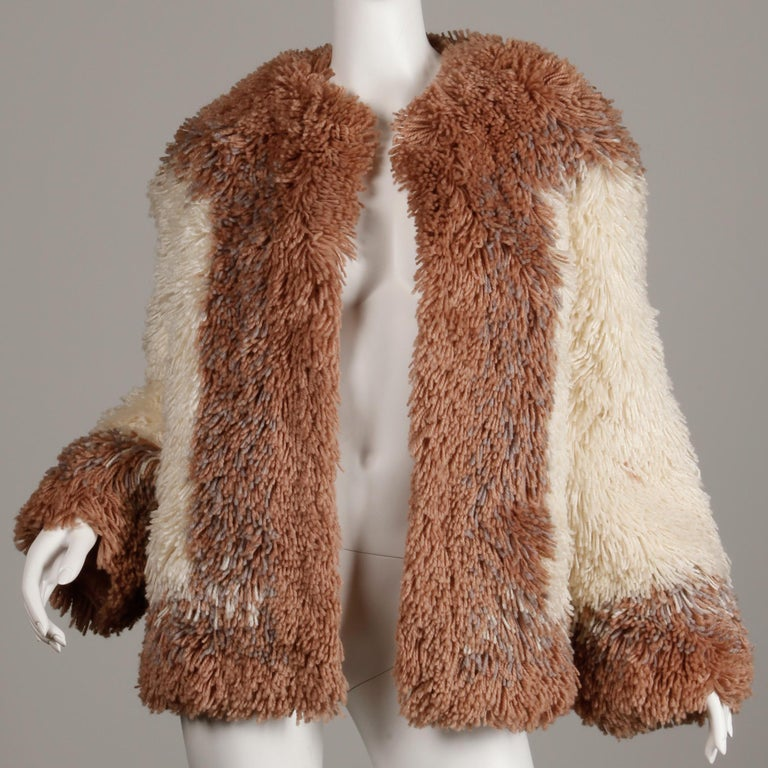 Judith Ann Vintage Heavy + Warm Wool Shaggy Faux Fur Jacket or Coat 1980s In Excellent Condition For Sale In Sparks, NV