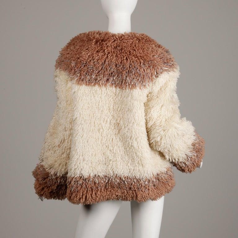 Women's Judith Ann Vintage Heavy + Warm Wool Shaggy Faux Fur Jacket or Coat 1980s For Sale