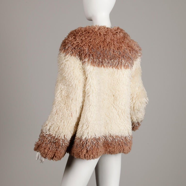 Judith Ann Vintage Heavy + Warm Wool Shaggy Faux Fur Jacket or Coat 1980s For Sale 3