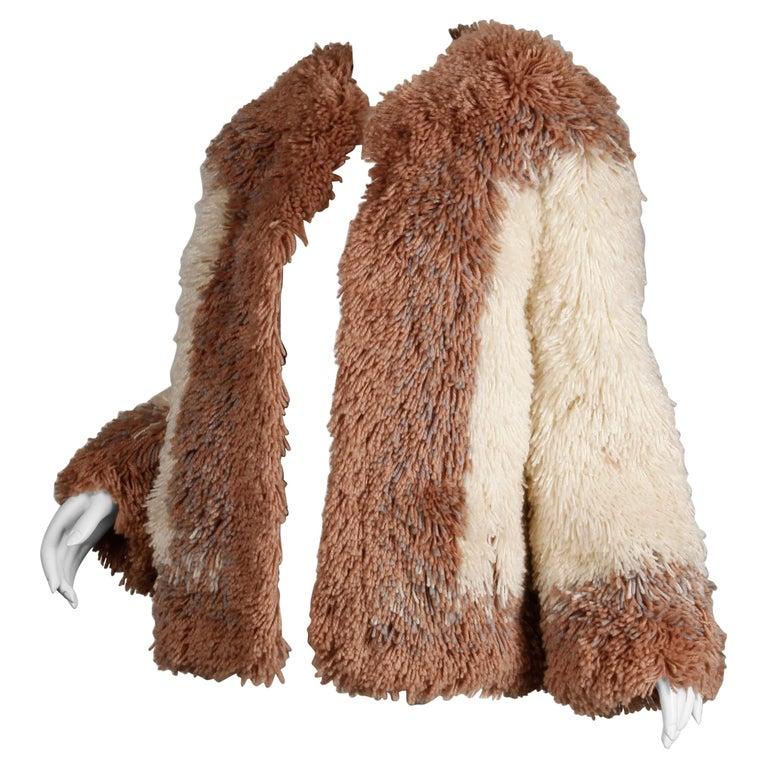 Judith Ann Vintage Heavy + Warm Wool Shaggy Faux Fur Jacket or Coat 1980s For Sale