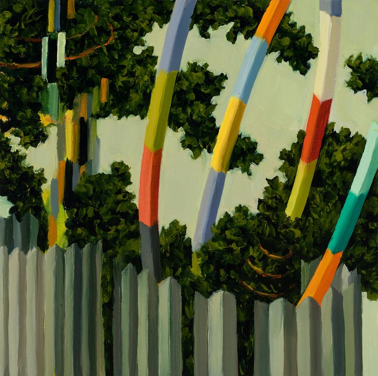 Judith Berry Abstract Painting - Fence and Poles