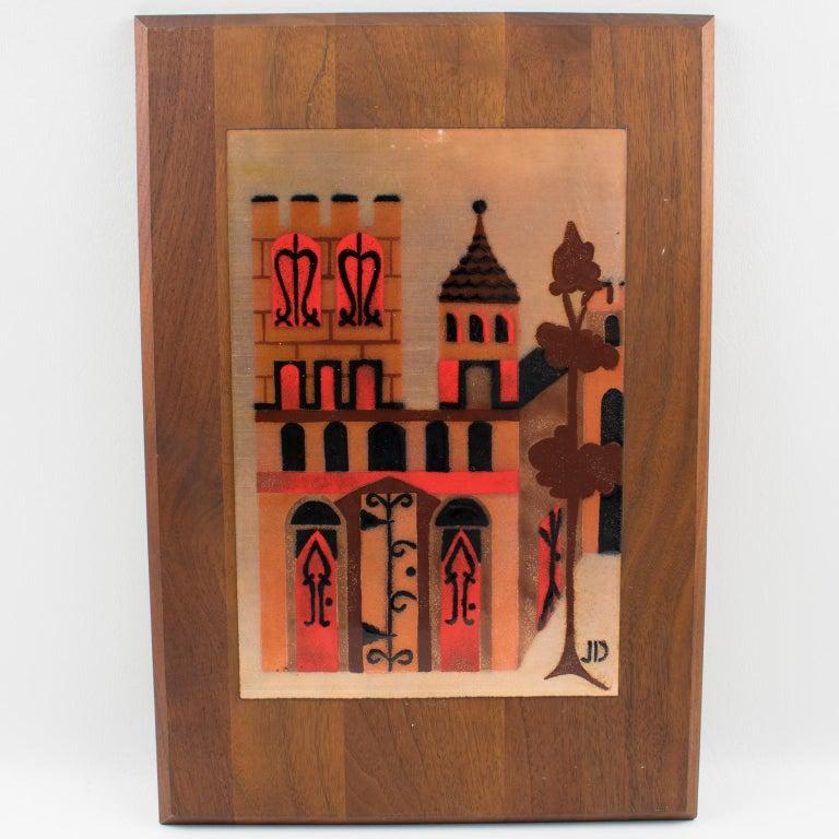 Judith Daner Enamel Artwork Wall Panel Cityscape, a pair For Sale 3