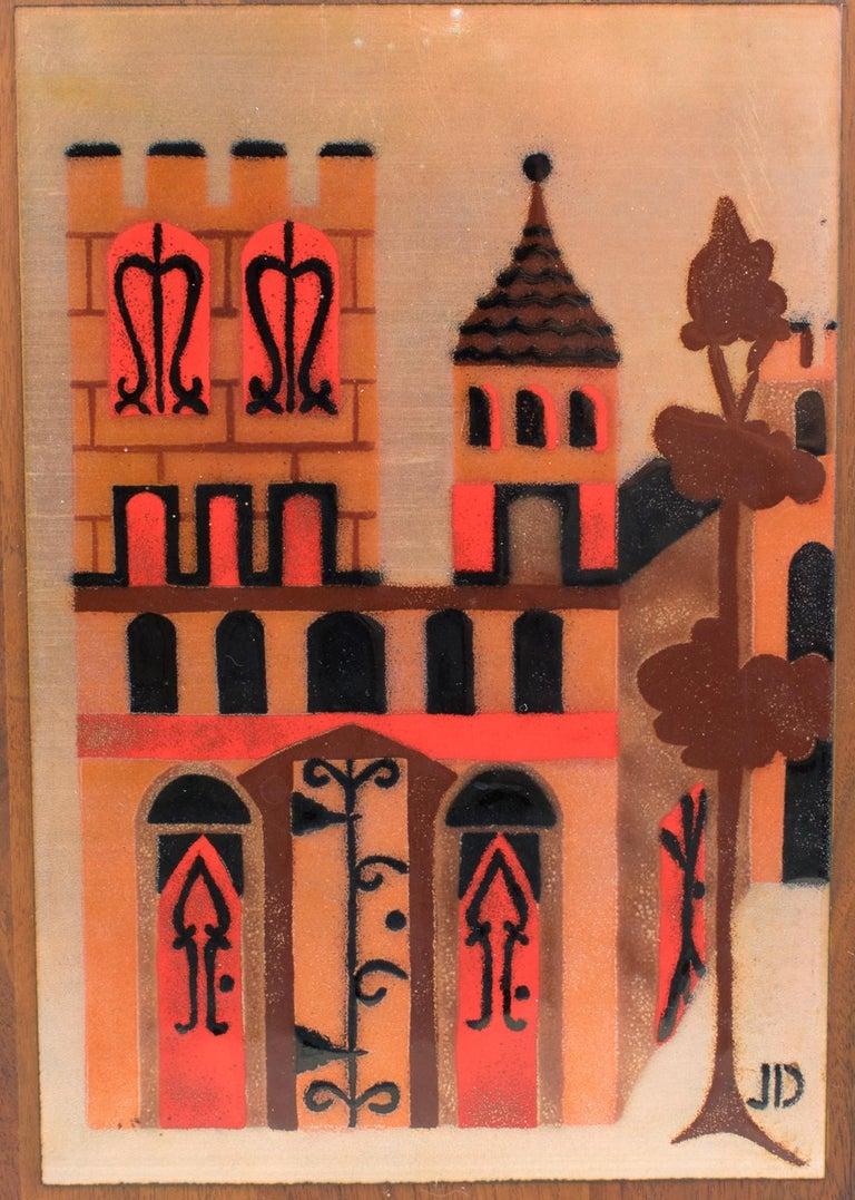 Judith Daner Enamel Artwork Wall Panel Cityscape, a pair For Sale 4