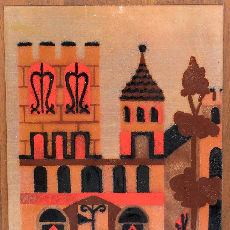 Judith Daner Enamel Artwork Wall Panel Cityscape, a pair For Sale 7