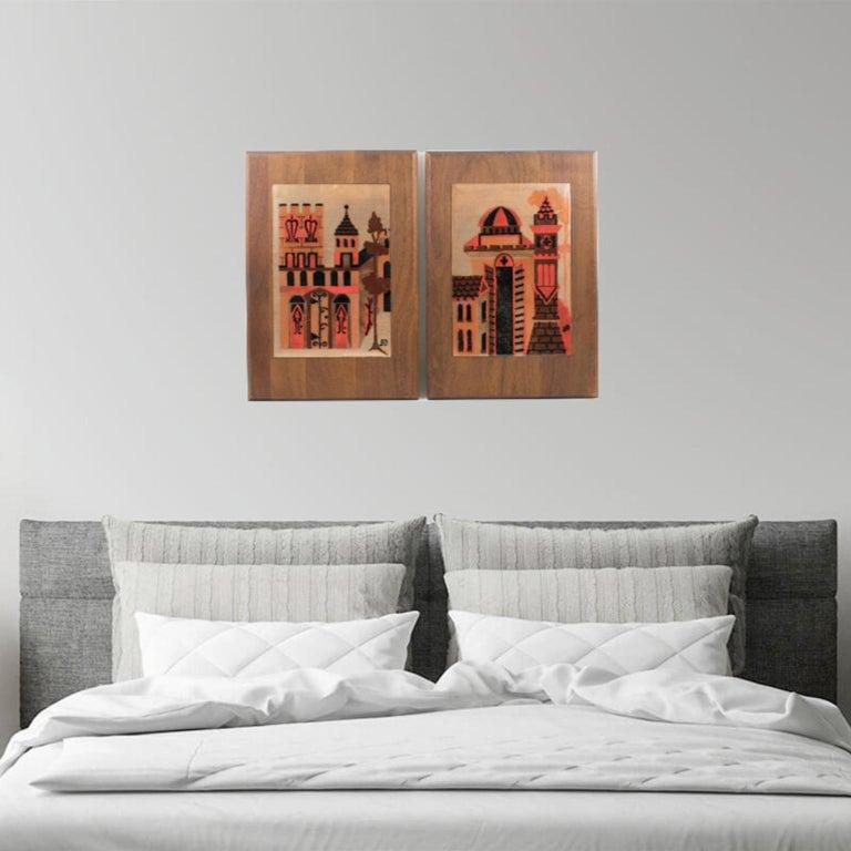 Mid-Century Modern Judith Daner Enamel Artwork Wall Panel Cityscape, a pair For Sale