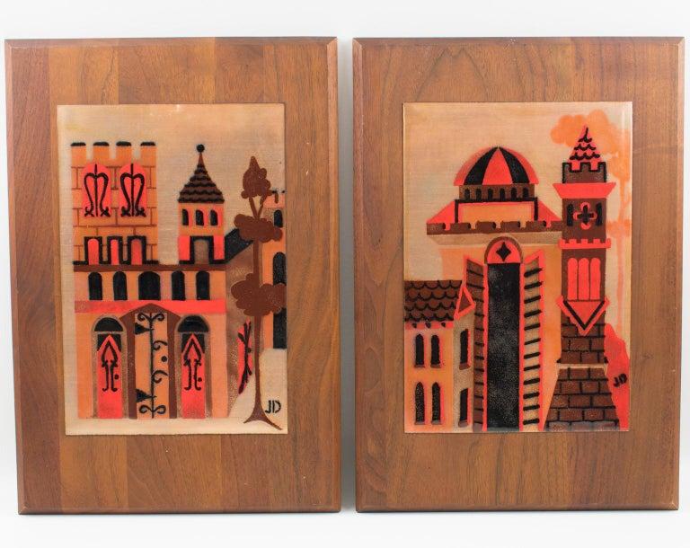 American Judith Daner Enamel Artwork Wall Panel Cityscape, a pair For Sale