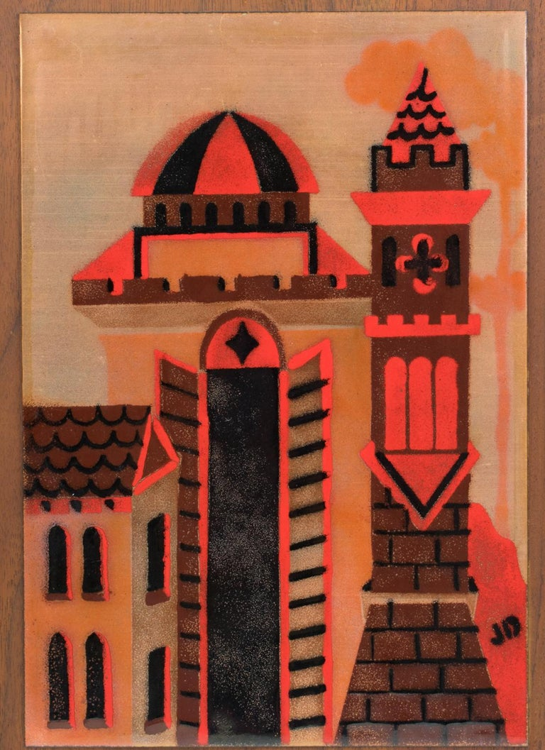 Mid-20th Century Judith Daner Enamel Artwork Wall Panel Cityscape, a pair For Sale
