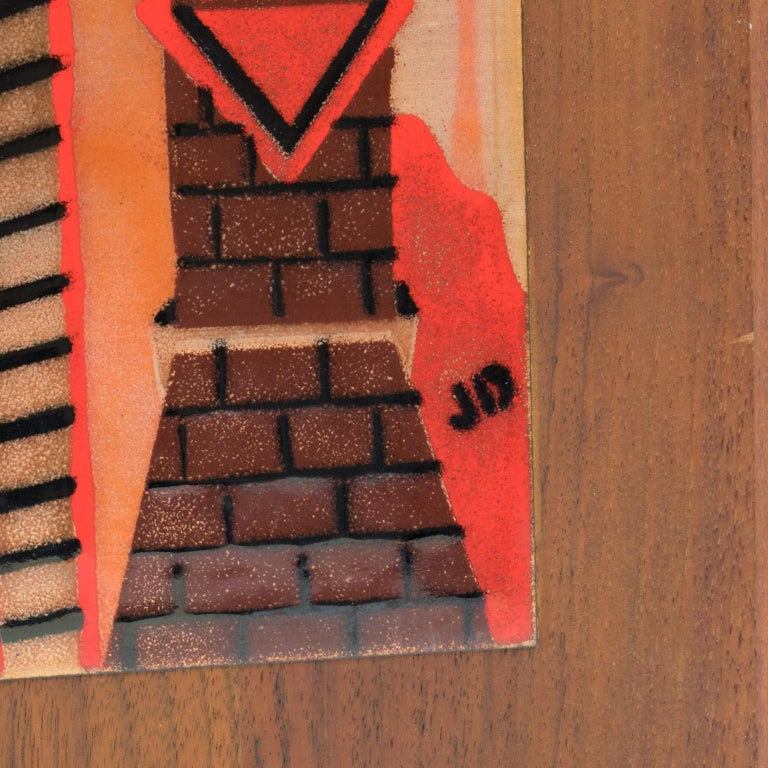 Metal Judith Daner Enamel Artwork Wall Panel Cityscape, a pair For Sale