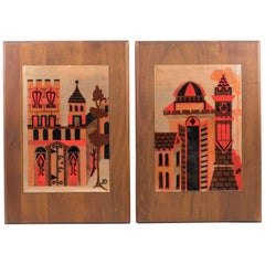 Judith Daner Enamel Artwork Wall Panel Cityscape, a Pair