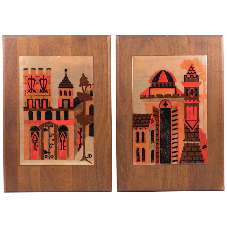 Judith Daner Enamel Artwork Wall Panel Cityscape, a pair