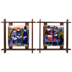 Judith Daner Enamel Artwork Wall Panel the Mexicans, a pair