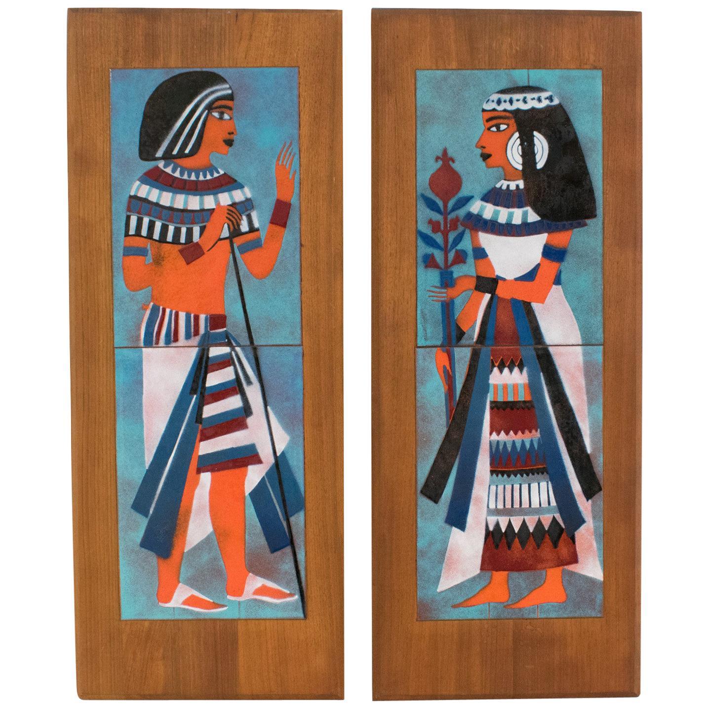 Judith Daner Enamel on Copper Artwork Wall Panel Egyptians, a pair