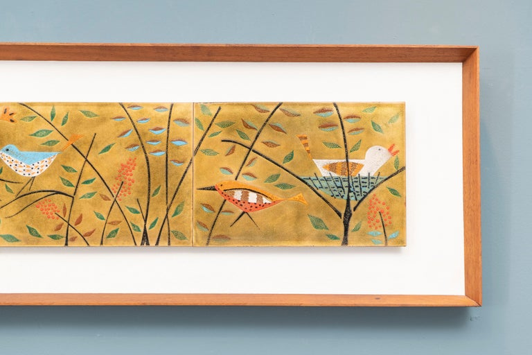 This is an absolutely wonderful vintage, circa 1950s, enamel on copper picture. It is by artist Judith Daner, known for her enamel works. This is the best I've seen! It depicts several modernist style birds in the trees, one even in a nest. This is