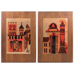 Judith Daner Midcentury Enamel on Copper Artwork Wall Panel Cityscape, a Pair