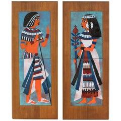 Judith Daner Midcentury Enamel on Copper Artwork Wall Panel Egyptians, a Pair