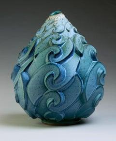 """Roiling Surf"", Contemporary, Ceramic, Sculpture, Geometric, Pattern, Glaze"