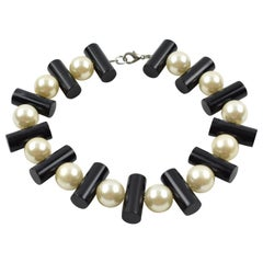 Judith Hendler Black and Pearl Lucite Choker Necklace