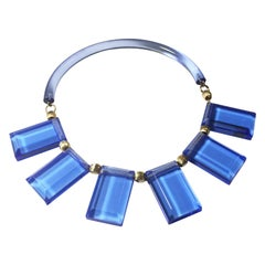 Judith Hendler Blue Acrylic Lucite Neck Ring Necklace