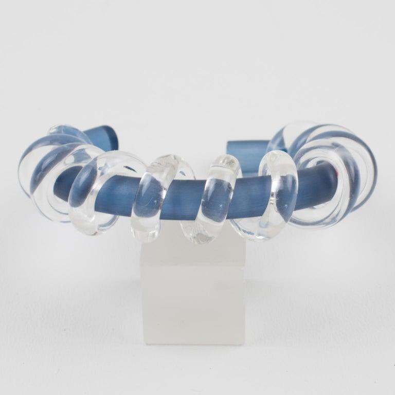 Women's Judith Hendler Clear & Blue Lucite Acrylic Spiral Cuff Bracelet Bangle For Sale