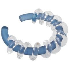 Judith Hendler Clear & Blue Lucite Acrylic Spiral Cuff Bracelet Bangle