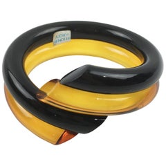 Judith Hendler Orange and Black Lucite Acrylic Coiled Bracelet Bangle