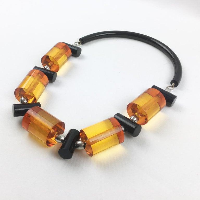 Judith Hendler Orange Black Acrylic Lucite Necklace For Sale 1