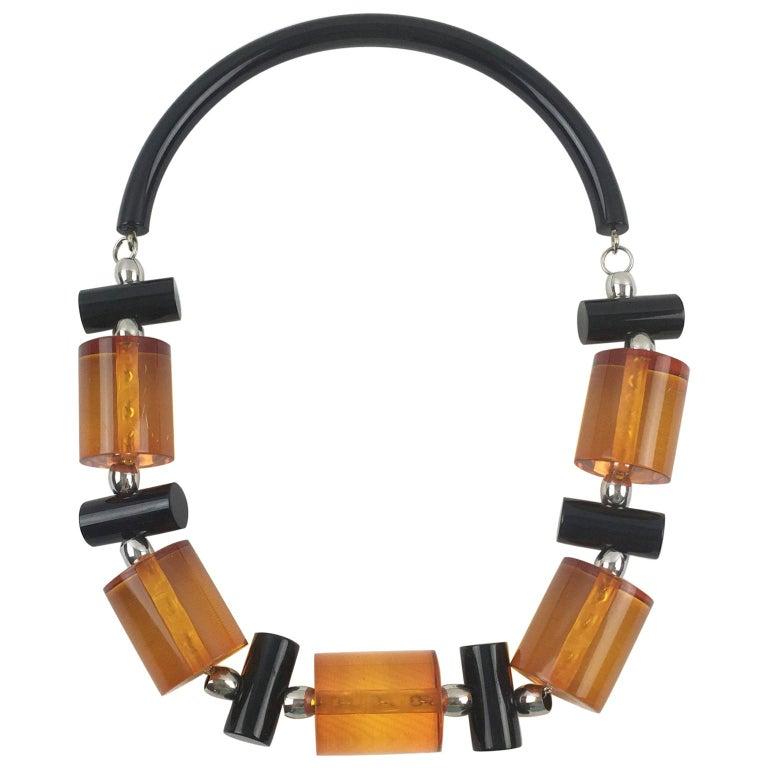 Judith Hendler Orange Black Acrylic Lucite Necklace For Sale