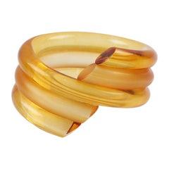 Judith Hendler Orange Lucite Coiled Bracelet Bangle