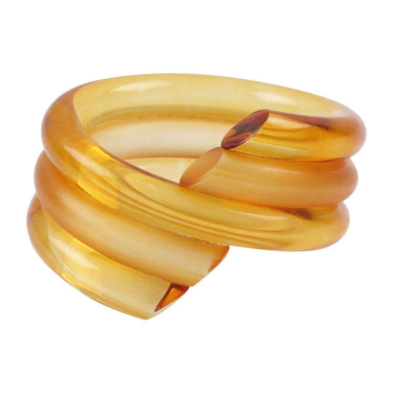 Judith Hendler Orange Lucite Coiled Bracelet Bangle For Sale
