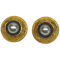 Judith Jack 1980s Gold with Sterling Silver Large Button Earrings