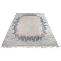 "Judith Johansson, ""Flower Wreath"" Swedish Flat Weave Rug, 1960s"