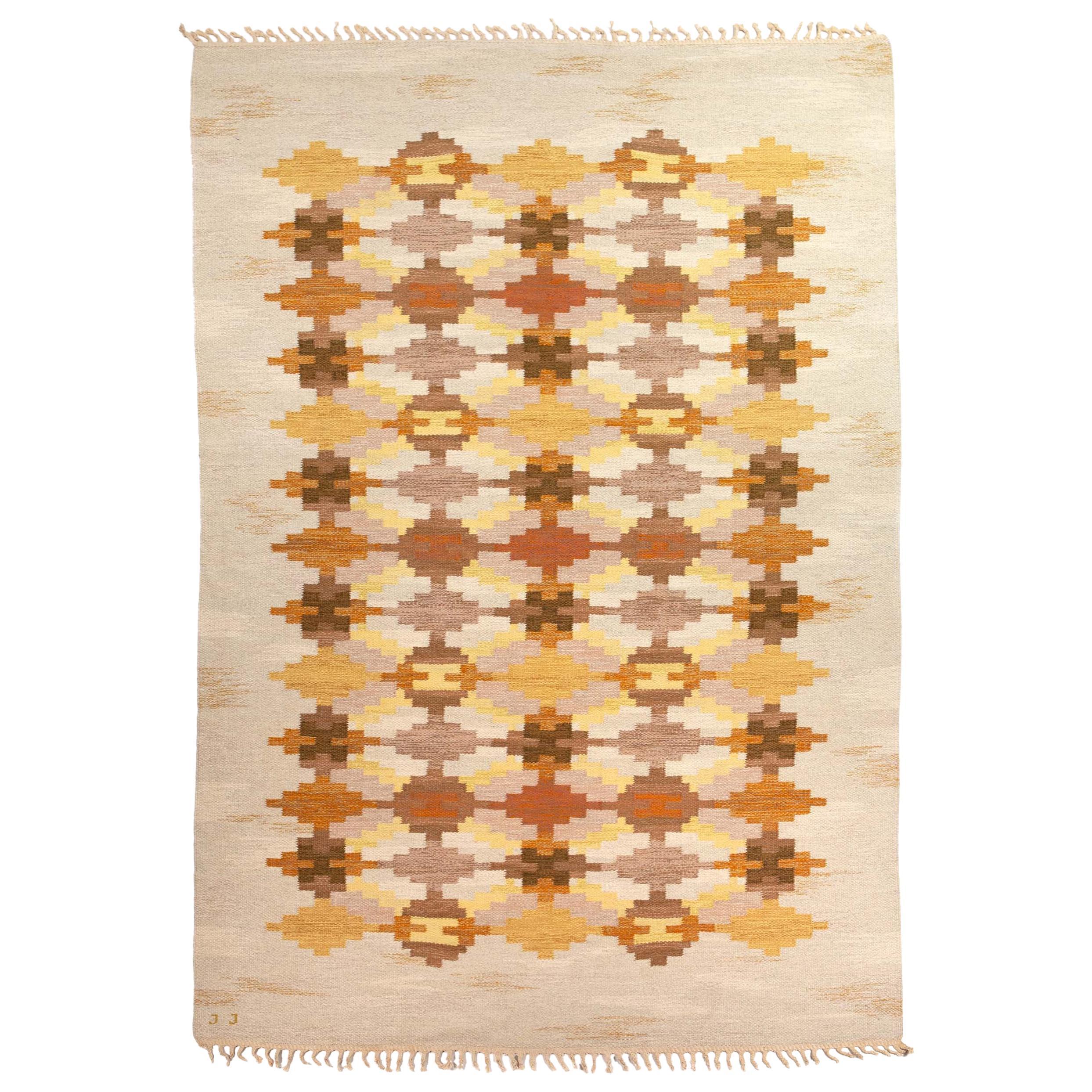 Judith Johansson Handwoven Flat-Weave Rug Signed JJ, Sweden, 1960s