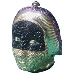 Judith Leiber Exquisite Crystal Encrusted Figural Woman Minaudière circa 1980s