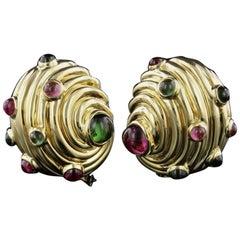 Judith Leiber 18 Karat Yellow Gold Tourmaline Shell Earrings