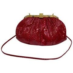 4a981336a22b Judith Leiber 1980's Burgundy Snakeskin Gold Bamboo Frame Evening Bag Purse