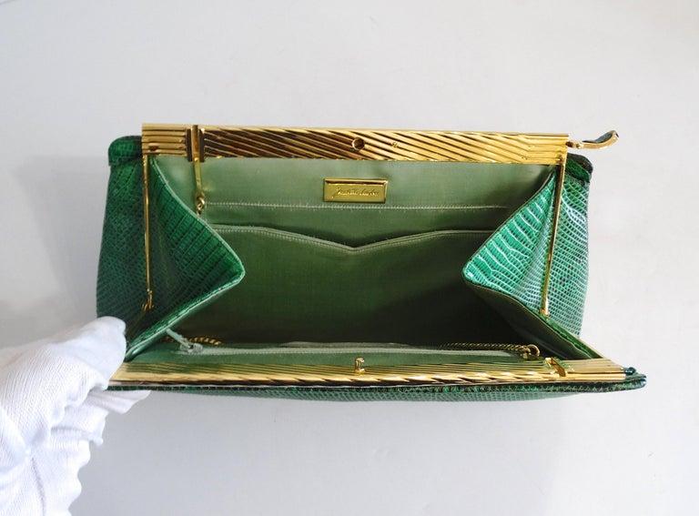 Judith Leiber 1980s Green Snake Skin Clutch For Sale 1