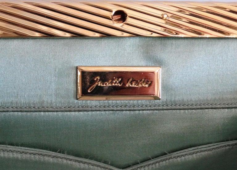 Judith Leiber 1980s Green Snake Skin Clutch For Sale 2
