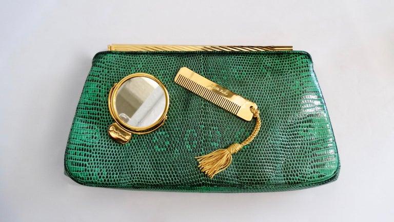Judith Leiber 1980s Green Snake Skin Clutch For Sale 3