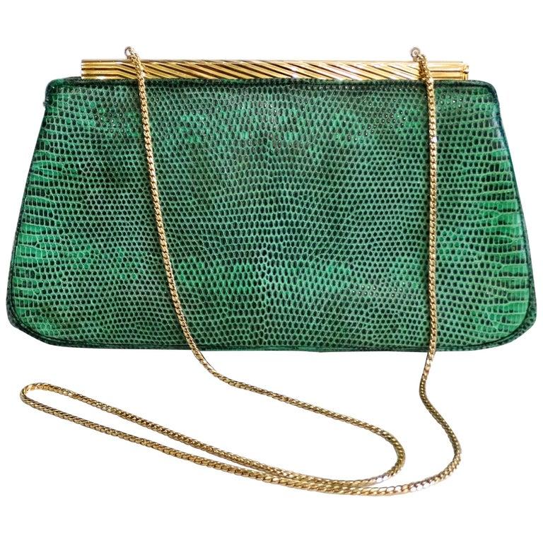 Judith Leiber 1980s Green Snake Skin Clutch For Sale