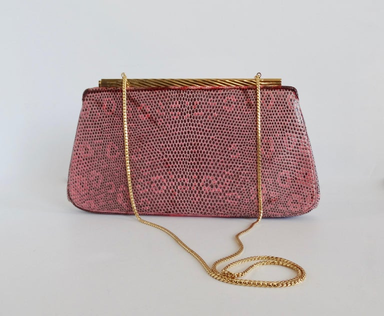 Judith Leiber 1980s Pink Snake Clutch For Sale 2