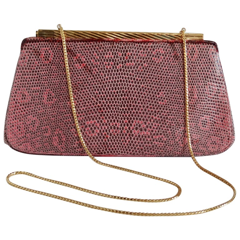 Judith Leiber 1980s Pink Snake Clutch For Sale