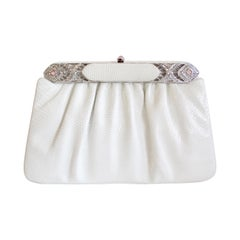 Judith Leiber 1980s White Lizard Skin Evening Clutch