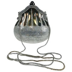 Judith Leiber 35th Anniversary Chatelaine Sterling Silver Sapphire Evening Bag