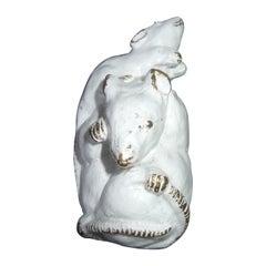 Judith Leiber Avant-Garde White Enamel Mouse Brooch c 1980s