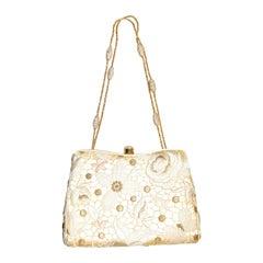 Judith Leiber Beige & Gold Tone Embroidered Vintage 1990's Evening Bag