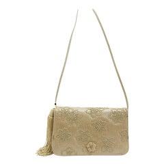 Judith Leiber Beige Karung Embroidered Bag