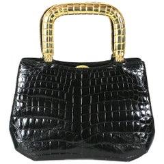 Judith Leiber Black Alligator Bag with Gilt Handles